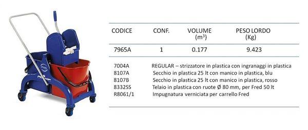 Filmop 7965A Fred Carrello con Impugnatura Verniciata in Plastica 50 Litri